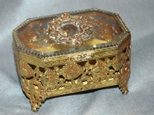 Metal & Beveled Glass Trinket Box