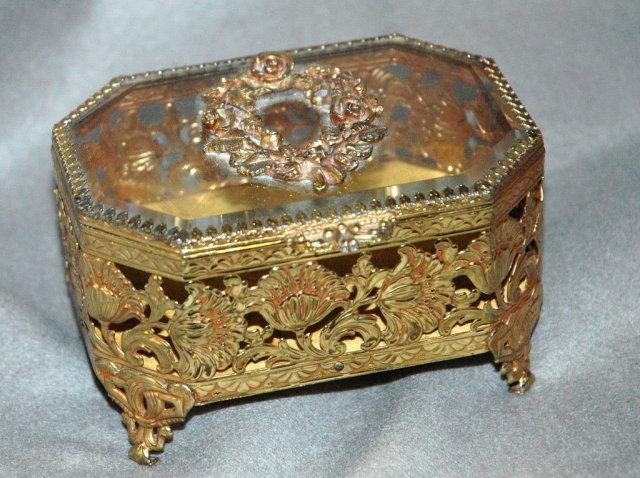 Metal & Beveled Glass Trinket Box