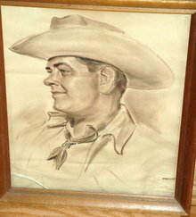 Sepia Tone Pastel Cowboy Portrait  by Federico   ** PRICE REDUCTION!**