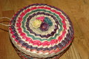 Vintage Colorful Mexican Basket with Lid