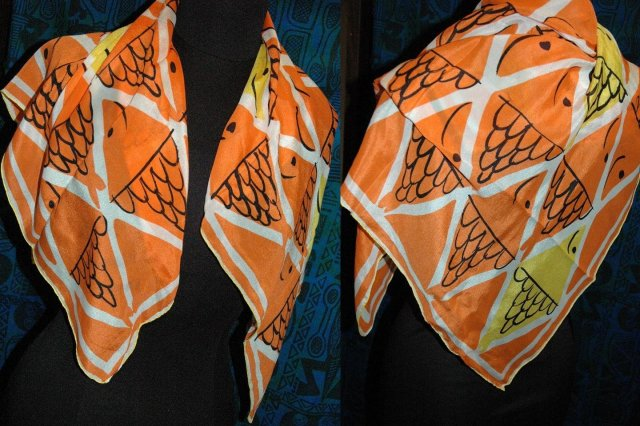 Silk Fish Scarf,  Scarves by Vera All Silk Made in Japan