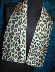 Leopard Print Silk Scarf with Hand rolled hem