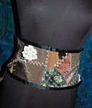 Crazy Quilt Pattern Tie belt or sash Leather Lace and Velvet