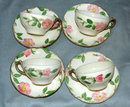 Set of 4 DesertRose Franciscan Cups & Saucers
