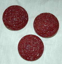 3 Large Red Textured Coat Buttons