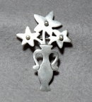 Mexican Sterling  Flower Vase Pin , A.H.D.