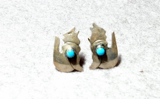 Sterling Coyote  Earrings with Turquoise Stone, Native American Handcrafted
