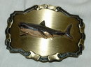 Brass & Emameled Shark  Belt Buckle Raintree