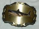Brass & Emameled Shark  Belt Buckle Raintree