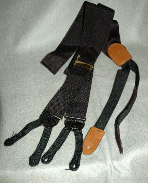 Cole  Haan Woven  Black Silk Suspenders, Braces with Genuine Lizard Skin & Brass