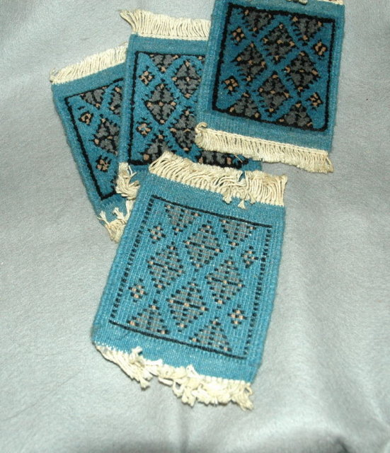 4 Miniture Oriental  Wool Rugs for Coasters or Doll House