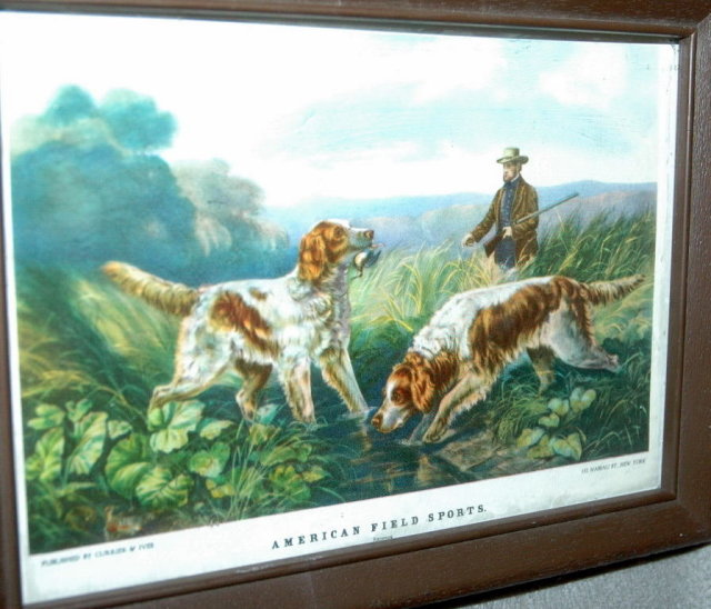 Small Currier & Ives American Field Sports Hunting Dog Scene Print