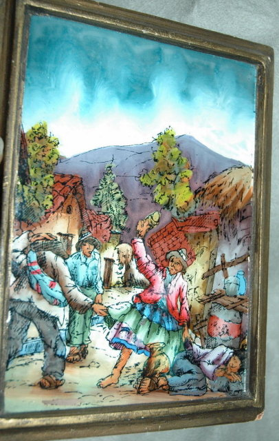Reverse Painted Glass Peruvian Andes Village