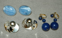 3 pairs of clip on earrings