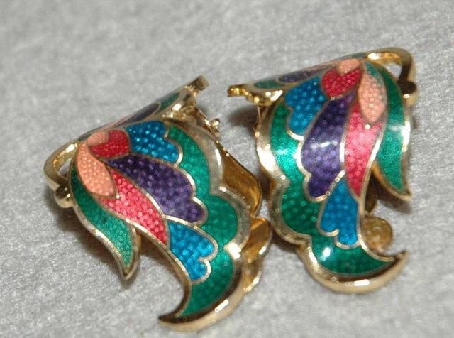 Pair of enamel metal clip on Wing earrings