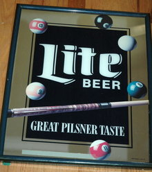 Lite Beer Pool Ball Bar Mirror Sign