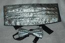 Metallic Silver & Black Paisley Brocade Cumberbun & Bow Tie