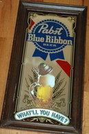 Pabst Blue Ribbon Beer Bar Mirror Sign