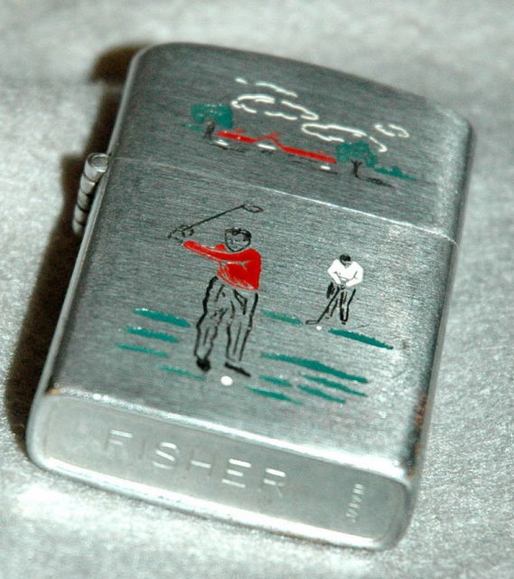 Cigarette Lighter with Golf Theme by Fisher