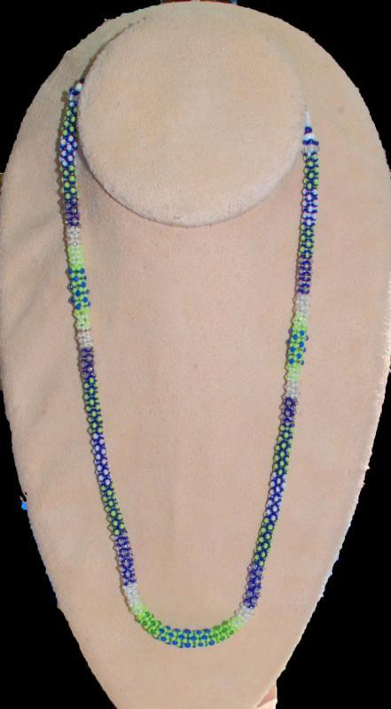 Seattle Seahawks Colors Tiny Seed Bead Rope Necklace Chenille Stitch Bead Weaving , Hand Crafted One of a Kind Design