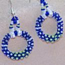 Seattle Seahawks Colors Tiny Seed Bead Rope Circle Hoop Earring Chenille Stitch Bead Weaving , Hand Crafted One of a Kind Design