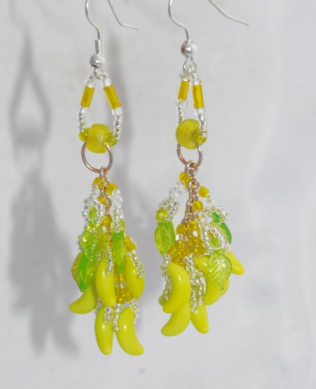 Yellow Chartreuse Color Czech Glass Banana Bunch Beaded Dangles Earrings Hand Crafted one of a kind with Green Leaves