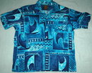 70's  Blue Barkcloth Big Surf Wave Tiki Shirt  JP Jandy Place collection Bardon Inc