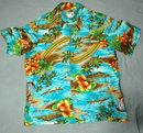 Vint Authentic Hawaiian Rainbow Palm Tree Shirt