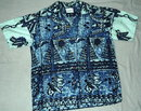 Surfside Sportswear vintage Hawaiian Barkcloth Shirt with  Norfolk Pines & Etc