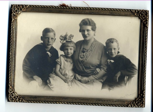 Framed Antique Photo of Mother & Children ( boys in sailor suits and the girl with big bow.  )