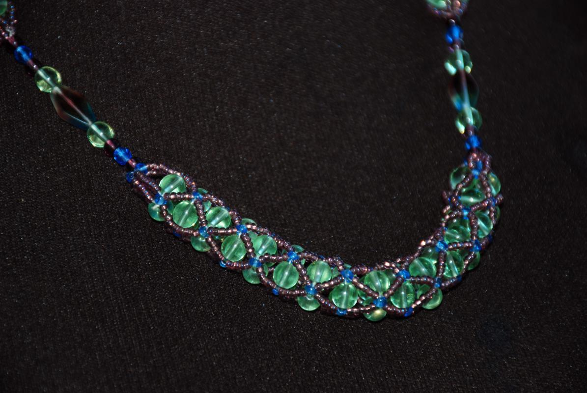 Czech Beaded Necklace, Netted Rope with Green, Purple, Blue Beads and Silver Chain , Hand Crafted One of a Kind Original Designer