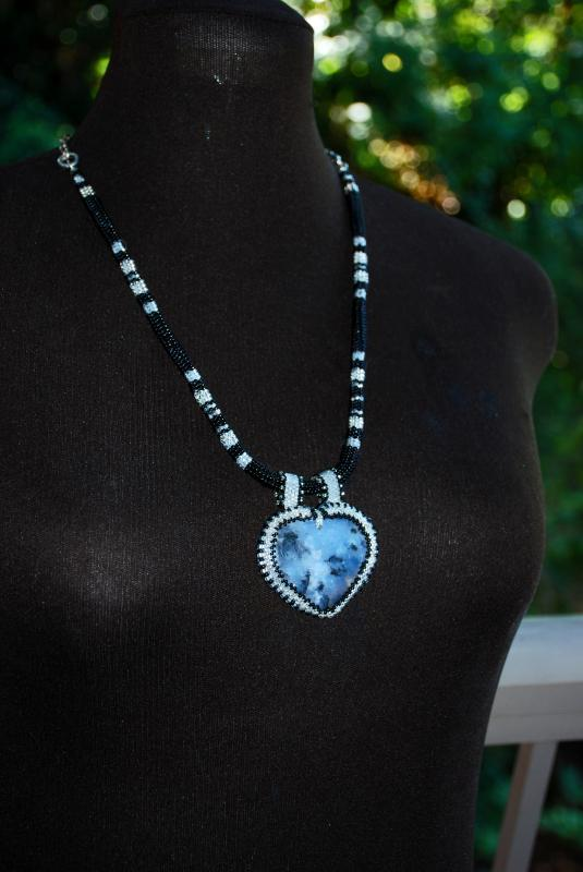 Reversible Dendritic Agate Heart with Beaded Bezel on beaded herringbone rope & Silver chain, Hand Crafted Original One of Kind Design.  Statement Necklace