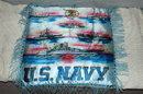U.S. Navy Battle Ship Satin Pillow with Fringe
