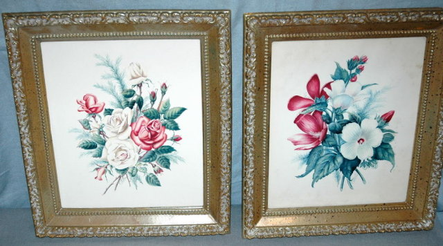 2 old floral  E. Serton   Botanical Prints in frames