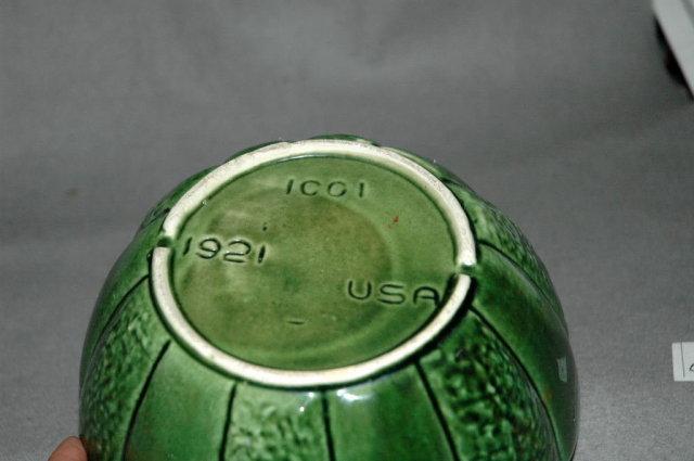 Nice Green USA Pottery  Melon shaped bowl