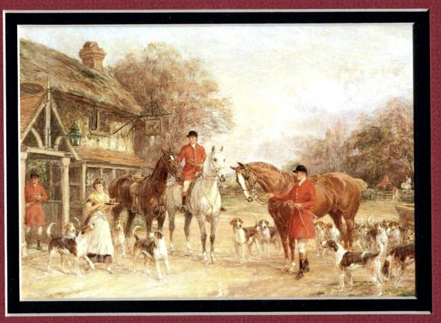 Old Engligh Fox Hunting  Lithograph Print , Hounds and Horses