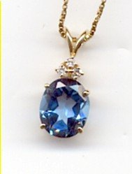 14K Gold  Blue Topaz & 3 diamond Pendant &Chain