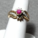 14K Gold Star Ruby Ring with 16 Diamonds
