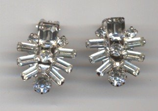 Weiss Rhinestone Clip on Earrings.