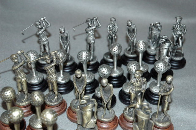 Set of Golf Theme Pewter Chess Pieces