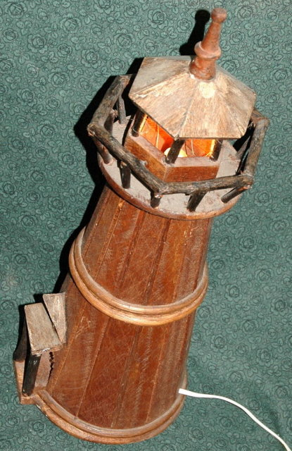 Handcrafted Lighted  Cedar Wood Light House * PRICE REDUCTION *