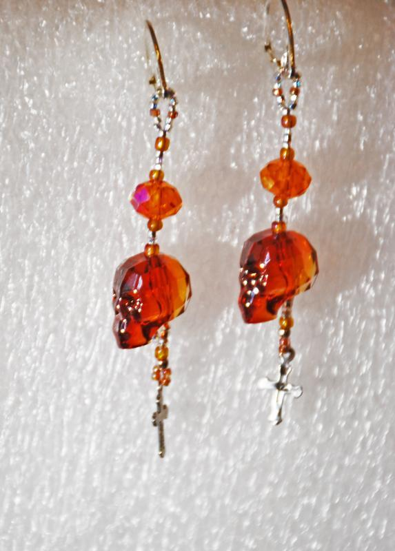 "Sterling Silver Skull & Gothic Cross earrings  ""Red Magma""  Swarovski Crystal Dangles, One of a Kind, Hand Crafted"
