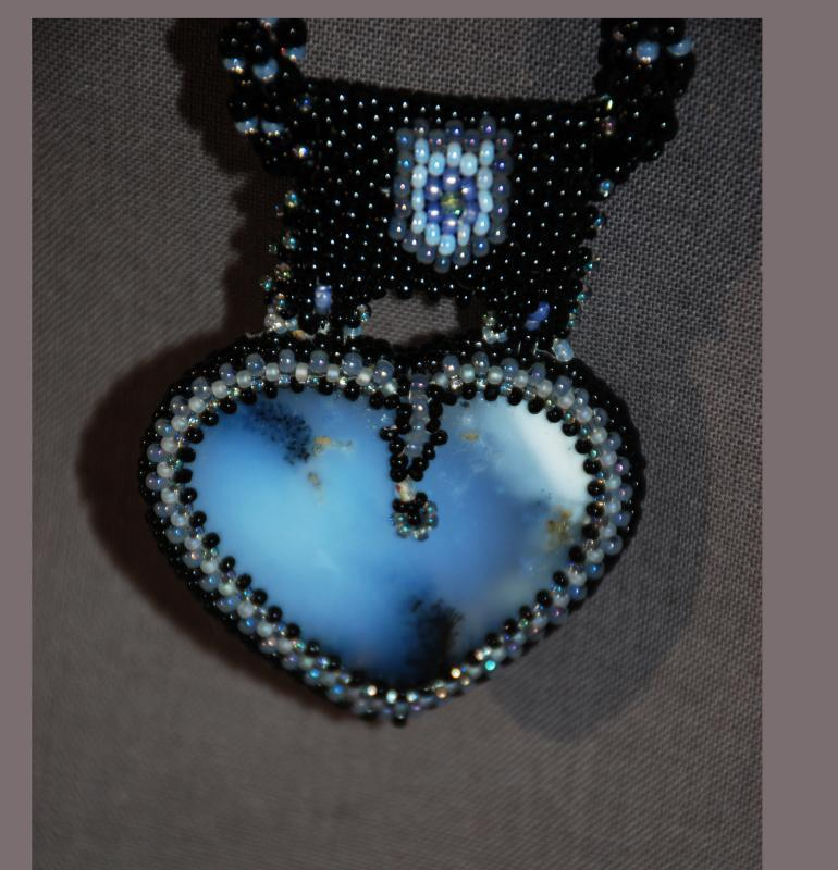 Reversible Dendritic Agate Heart with Beaded Bezel Raw Rope & Silver chain . Statement Necklace