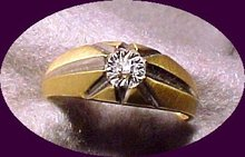 Star Setting 10K gold Diamond Ring ( signed)