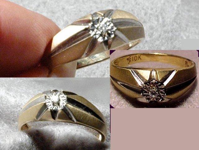 Star Setting 10K gold Diamond Ring ( signed)