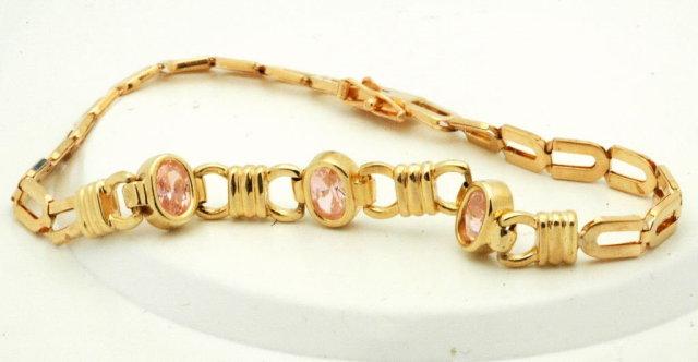14K gold & Pink Tourmaline Bracelet  6.3gms