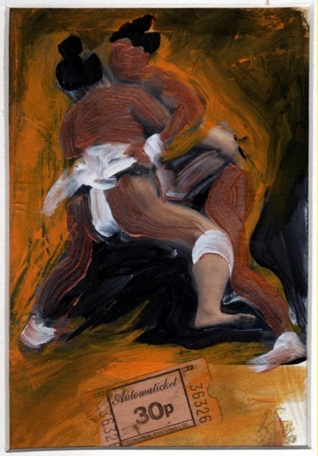 Sumo Wrestlers Oil  Painting &  Mixed Media