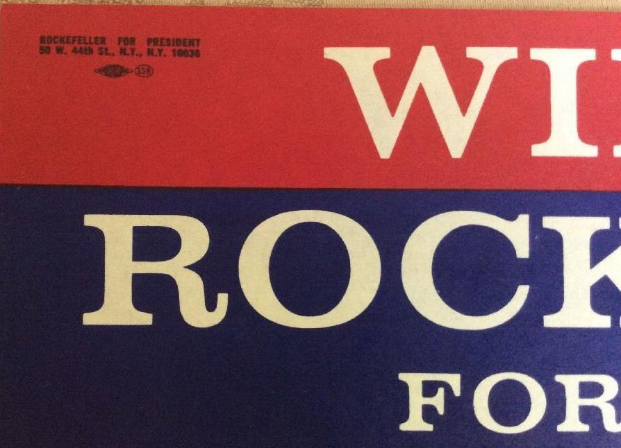 1964 Win With Rockefeller for President Bumper Sticker Vintage/ Original