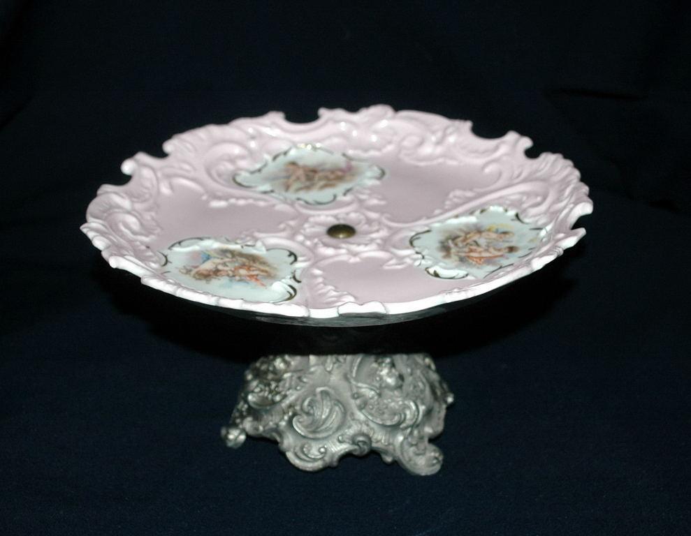 Porcelain Cherub Moriage Pink Gilt Footed Tidbit Bonbon Dessert Plate European