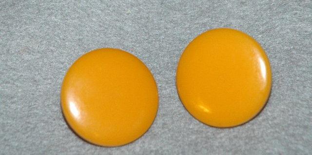 Butterscotch Bakelite Disc Clip On Earrings